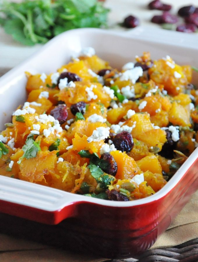 Roasted Butternut Squash with Cranberries and Goat Cheese