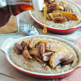 Apple Pecan Pie Oatmeal (gluten free, high fiber, healthy, almost vegan)