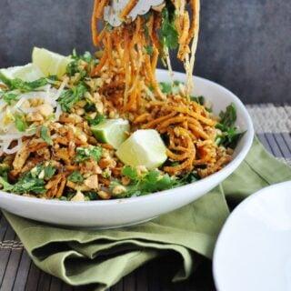 Tofu Pad Thai Sweet Potato Noodles (gluten-free, dairy-free, lightened up, vegetarian option)