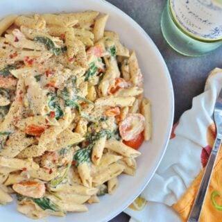 Creamy Spicy Vegan Pasta (gluten-free, high fiber)
