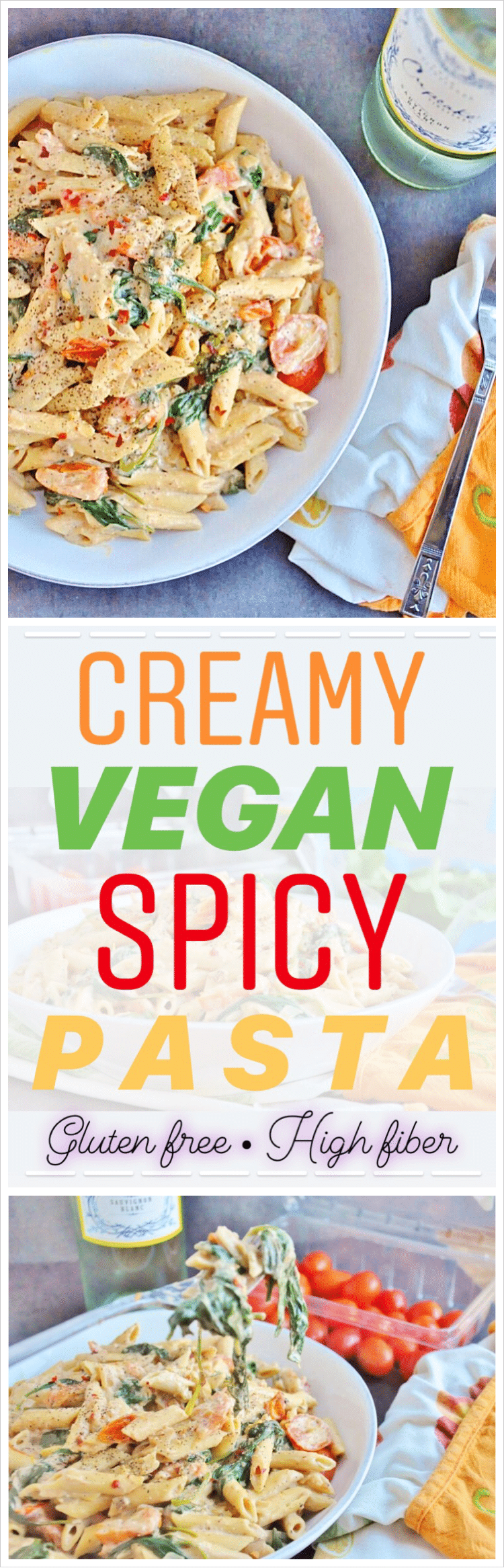 Creamy spicy vegan pasta gluten free high fiber honey whats pin creamy spicy vegan pasta forumfinder Images