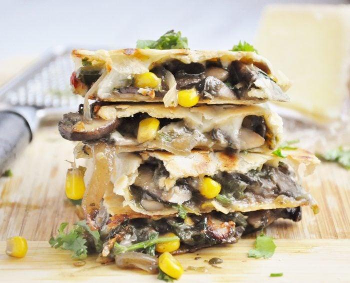 Mushroom Corn Truffle Quesadillas (gluten-free, healthy ...