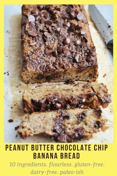 Peanut Butter Chocolate Chip Banana Bread - 10 ingredients, flourless, gluten free, dairy free, paleo-ish