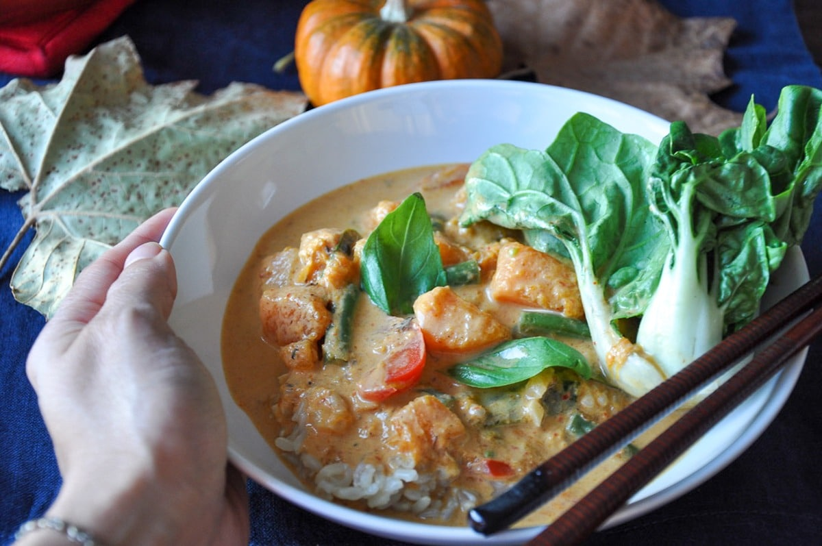 Thai Butternut Squash Red Curry (gluten-free, vegan option)