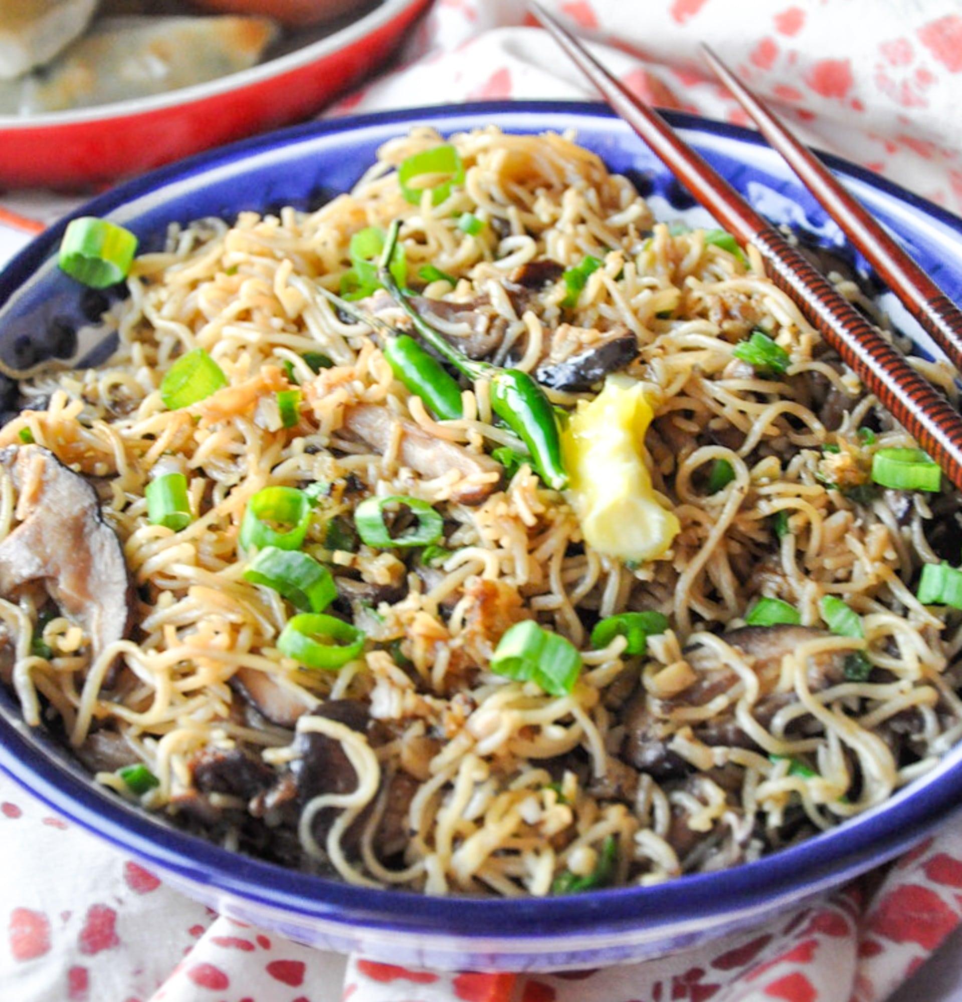 mushroom noodles 10 ingredients vegan option  honey