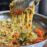 Caprese Zucchini Noodles (7 ingredients, low-carb, gluten-free, healthy-ish, vegan option)